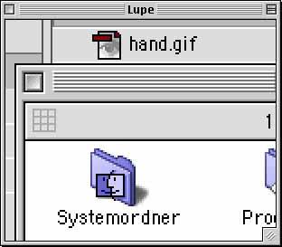 Ejemplo de una pequeña ampliación de un área de pantalla.